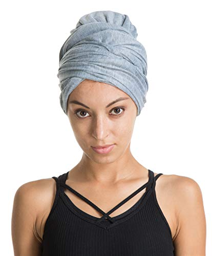Turban Hat Headband Head Wrap - Light Gray Magic Jersey Turbans HeadWrap Chemo Cap Tube Scarf Tie Hijab For Hair Muslim bohemian boho Black African ()
