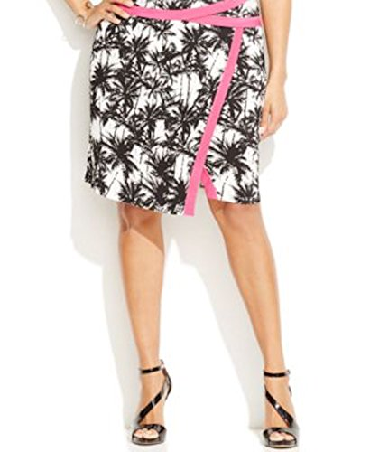 INC Womens Plus Printed Contrast Trim Knit Skirt B/W 2X