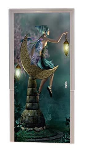 A.Monamour 3D Fairytale A Little Pixie Elf with Lantern Sitting On Moon Shaped Stone Fairy Night Scene Print Vinyl Room Door Decals Wallpaper Wall Murals Removable Door Stickers Posters Art Decors