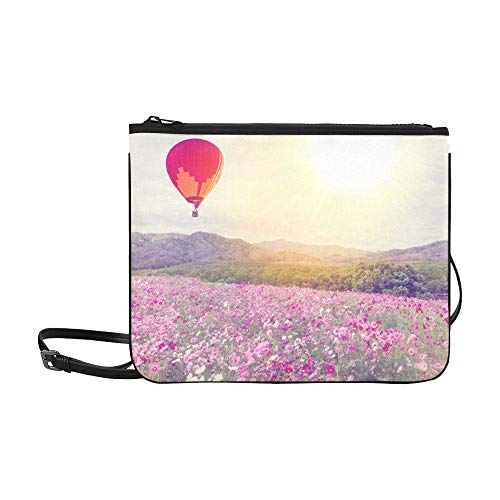 Fold Over Clutch Beaded (Hot Air Balloon Over Cosmos Flower Pattern Custom High-grade Nylon Slim Clutch Bag Cross-body Bag Shoulder Bag)