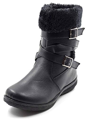 Simply Petals Girls Vegan Leather Fur Trim Winter Strap Black Buckle Boots (Little Girl/Big Girl) (2, Brown) -