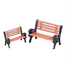 2X DIY Miniature Park Bench Garden Chair Dollhouse Furniture Outdoors Decor