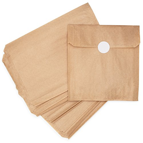(Natural Kraft Brown Paper Snack and Sandwich Bags + White Stickers for Sealing. 100% Chlorine-Free, Unbleached, Eco Alternative to Plastic Fold Top/Zippered Bags. Made in USA. 125 Sleeves Per)
