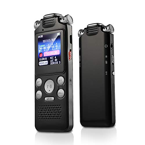 Digital Voice Recorder, AMDISI 8GB USB Professional Voice Recorder With MP3 Player, HD Recording, Portable Auto Voice Activated Recorder with Rechargeable, Stereo Recording of Dictaphone Voice Recorde