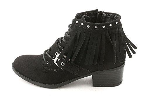 Indigo Rd. Womens KADE2 Suede Almond Toe Ankle Fashion Boots Black Fabric ikLKW
