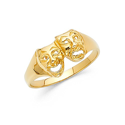 Ioka Jewelry - 14K Yellow Solid Gold Comedy and Tragedy Fancy Ring - size 7.5