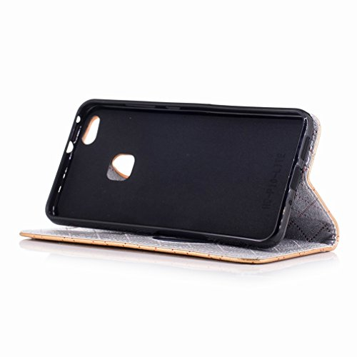Yiizy Huawei P10 Lite Custodia Cover, Amare Design Sottile Flip Portafoglio PU Pelle Cuoio Copertura Shell Case Slot Schede Cavalletto Stile Libro Bumper Protettivo Borsa (Dorato)