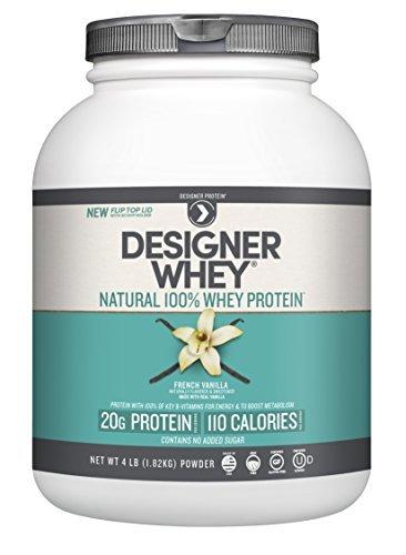 Designer Protein 100% Premium Natural Whey Protein Powder with Acti-Blend, French Vanilla, 4 Pound Container by Designer Whey