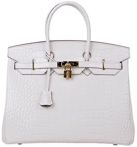 Cherish Kiss Padlock Bag Women Crocodile Leather Top Handle Handbags (35cm, Pure white) by Cherish Kiss