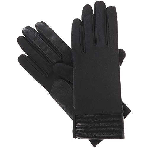 Isotoner Women's Spandex Stretch Touchscreen Texting Cold Weather Gloves With Warm Fleece Lining Metallic Details