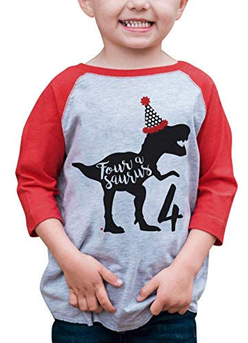 7 ate 9 Apparel Four Dino Birthday Dinosaur Red Baseball Tee ()