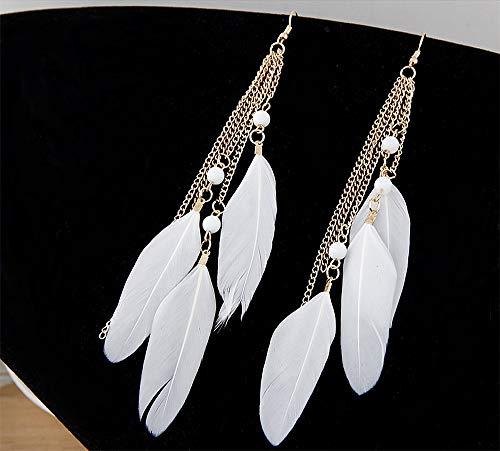 Jurxy 1 Pair Feather Dangle Earrings Bohemian Style Women Jewelry 3 Big Feather Tassel Hook Ear Stud Earrings with Beads- White