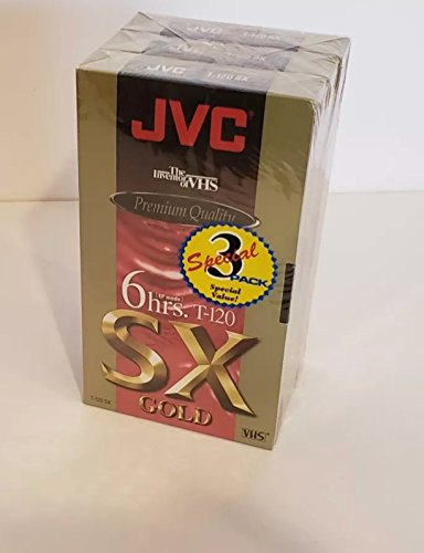 JVC Premium Quality 6 Hrs. T-120 Sx Gold VHS Tapes 3 Pack