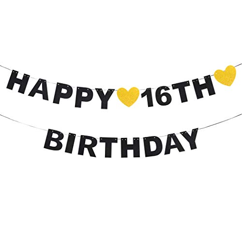AERZETIX Happy 16th Birthday Black Glitter Bunting Banner for 16 Birthday Sixteen Years Old Bday Party Decoration Gift Sign