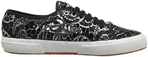 Superga Womens 2750 Macramemetw Fashion Sneaker, Black/Silver, 39 EU/8 M US