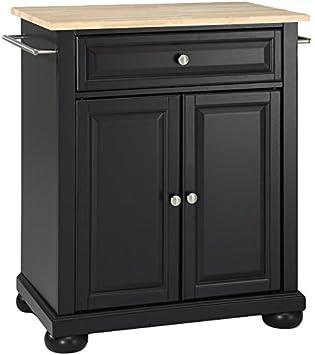Crosley Furniture Alexandria Cuisine Kitchen Island With Natural Wood Top    Black