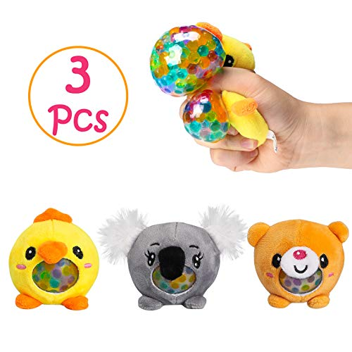 GROBRO7 Animal Stress Balls Anxiety Relief Fidget Toy Cute ADHD Stress Relief Balls Squeezable Gel Water Beads Sensory Play Promote Calm Focus Relieve Tension Birthday Gifts for Kids Adults 3 Pack