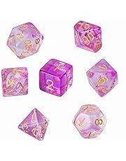 GWHOLE Polyhedral dobbelstenen set voor kerkers en draken tafelspel dobbelstenen voor D & D, DND, GRP met zwarte zakje, lichtpaars