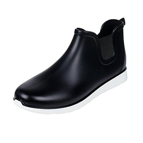 (Comwarm Mens Waterproof Anti-Slip Rain Boots Casual Outdoor Sport Short Ankle Slip-on Rain Shoes, Black Size 11)