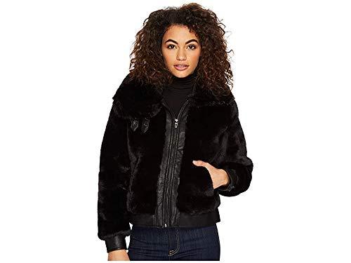 [BLANKNYC] Women's Faux Fur Coat Outerwear, Black Noise, S