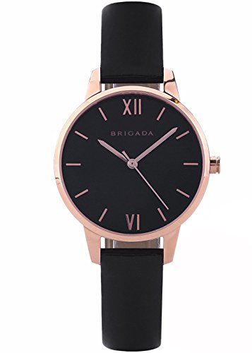 Nice Fashion Rose Gold Black Ladies Watches, Swiss Brand Leather Band Japanese Movement Waterproof Dress Watch for Women on Sale