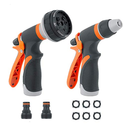 Garden Hose Nozzle Sprayer- Rottay Hose Nozzle Set Anti Leak High Pressure Heavy Duty 9 Adjustable Watering Patterns for Watering Plant Washing Cars Pets Shower