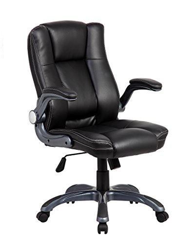 eurosports ES-9002-2-BK Mid-back Modern Computer Pu Leather Chair,economic Office Chair Executive Chair with Thick Padded Backrest and Seat,adjustable Armrests,Black (Managerial Mid Back Leather Chair)