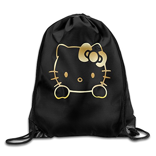 Price comparison product image BYDHX Hello Kitty Vinyl Decal Gold Logo Drawstring Backpack Bag White