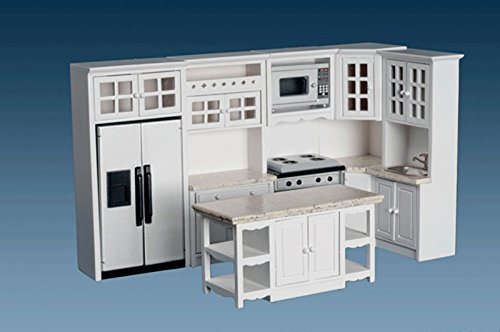 Dollhouse Miniature 1:12 Complete 8 Piece Kitchen Furniture Set in White by Dollhouse Miniature