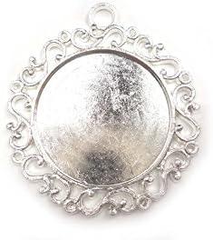 【HARU雑貨】シルバー ミール皿 1枚/大きめ 華 丸 レース 銀 s42/セッティング レジン アクセサリーパーツ