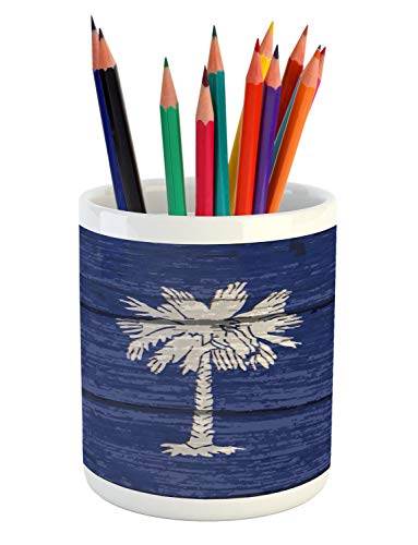 (Lunarable South Carolina Pencil Pen Holder, State Flag Palm Tree Moon Pattern on Rustic Wooden Background, Printed Ceramic Pencil Pen Holder for Desk Office Accessory, Dark Lavender and Dust)