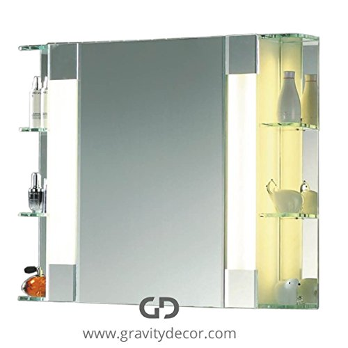 Gravity Decor The Fairway, Mid Century Modern Bathroom Mirrored Cabinet with LED Lighting