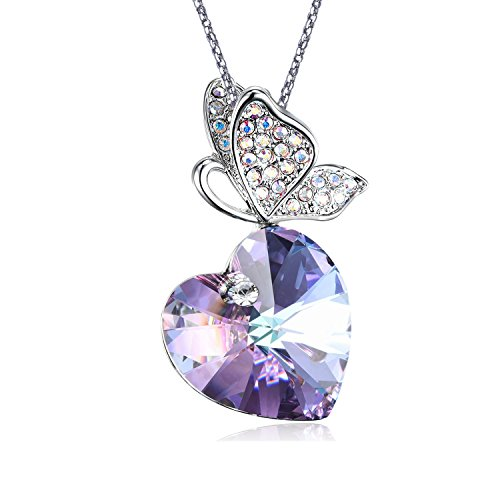 Silver Purple Heart Pendant Necklace- Butterfly Rhinestone with Heart Purple Crystal Gifts for Women and (Butterfly Purple Pendant)