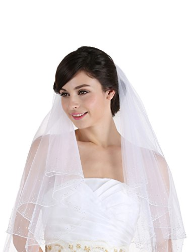 2T 2 Tier 2.5'' Wide Crystal Beaded Edge Bridal Wedding Veil - White Cathedral Length 108'' by Venus Jewelry