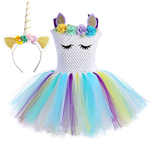 Tutu Dreams Unicorn Dresses for Little Girls Blue Birthday Party Special Occasion (White Rainbow-3, L)]()