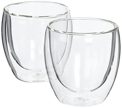 Bodum Pavina Glass, Double-Wall Insulated Glasses, Clear, 8 Ounces Each (Set of 2) (No Espresso Handle Cups)