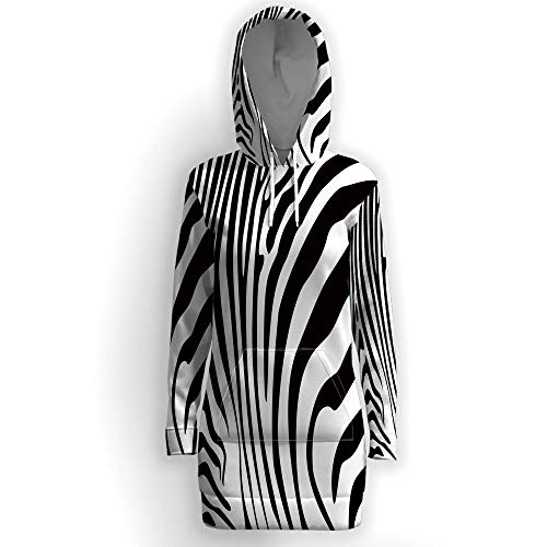 Women Causal Hoodie Maxi Dress Solid, Zebra Print,Pullover Sweater Hoodie Tops S