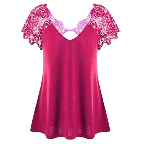 Clearance Deals ! Lace Short Sleeve Blouse For Women, Women Cotton Casual Top V-Neck Plus Size Lace Short Sleeve Trim Cutwork T-Shirt TopsTops Plus Size For Women Blouse Plus Size (L5, Hot Pink)