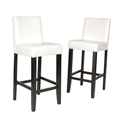 Roundhill Furniture Citylight Bar Height Barstools (Set of 2), Off White (Discount Kitchen Furniture)