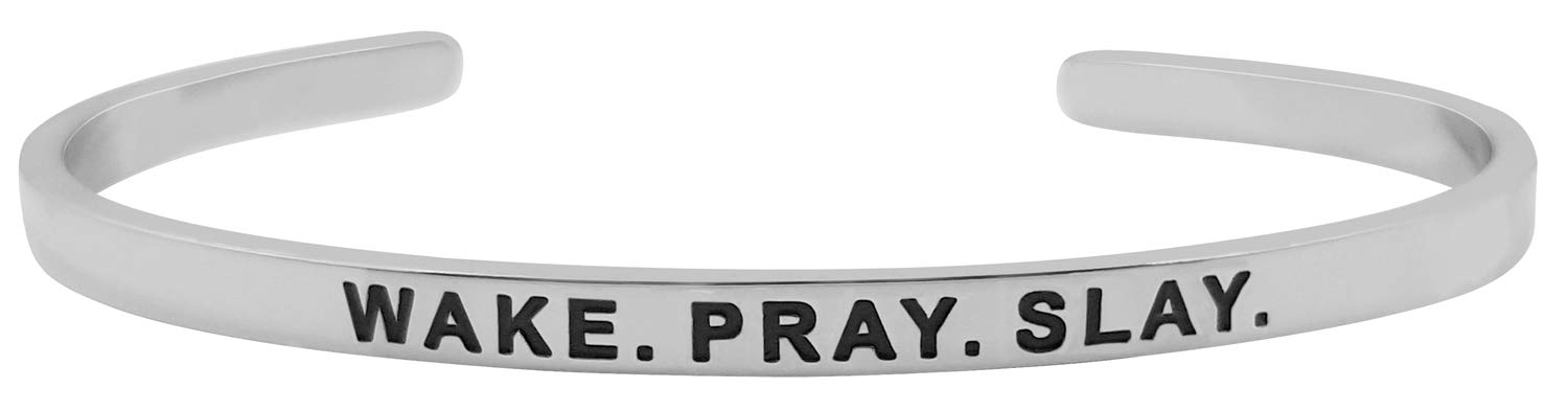 ''Wake. Pray. Slay.'' Inspirational Mantra Quote Bracelet Motivational Positive Sayings Message Cuff Jewelry for Women and Teen Girls by GLAM (Image #1)