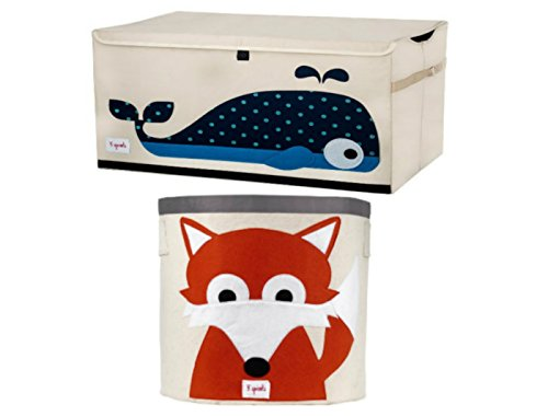 Cute Whale Chest Toy Storage Bin Container and Fox Toy