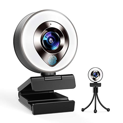 2021 CASECUBE FHD 1080P Webcam with Ring Light and Dual Mics Adjustable Brightness Plug Play Auto focus