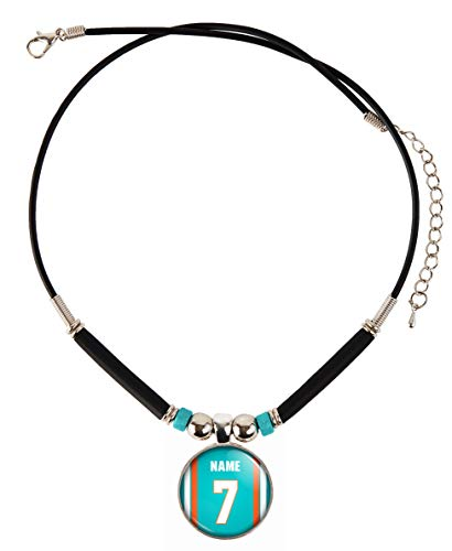 Dolphins Miami Jersey Custom - Customized Miami Football Necklace with Your Name and Number, By SpotlightJewels
