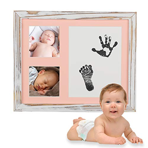 Baby Handprint Kit, Picture Frame, Baby Footprint Kit, Perfect for Baby Gift, Baby Shower Gift, Babyprints Wall Frame, Rustic Frame (White)