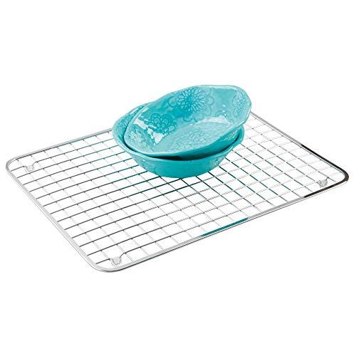 (InterDesign Gia Metal Grid, Non-Skid Protector for Kitchen, Bathroom, Basement, Garage Sink, Set of 1, Polished)