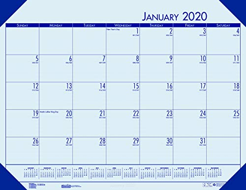 House of Doolittle 2020 Monthly Desk Pad Calendar, EcoTones, Blue Paper, 22 x 17 Inches, January - December (HOD12440-20) (Monthly Desk Pad Ecotones Calendar)