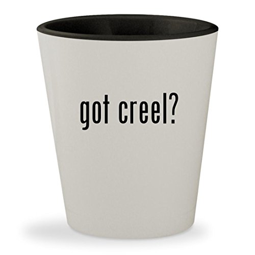 got creel? - White Outer & Black Inner Ceramic 1.5oz Shot Glass (Creel Wicker Antique Fishing)