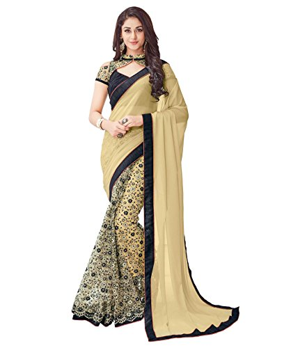 Viva-N-Diva-Beige-Georgette-And-Net-Saree-With-Unstitched-Blouse-Piece