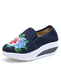 ZYZF Womens Flower Embroidery Wedge Heel Casual Loafer Sneakers Shoes