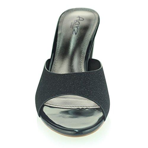 Mujer Señoras Cuadrado Punta Abierta Hebilla Detalle Correa De Tobillo Metálico Medio Tacón De Bloque Noche Fiesta Boda Prom Sandalias Zapatos Tamaño Negro